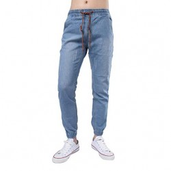 Casual Drawstring  Vintage Denim Pants