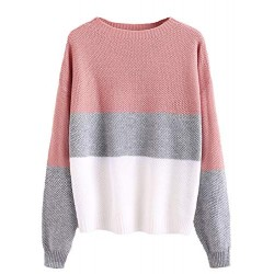 Women's Drop Shoulder Color Block Textured Jumper Casual Sweater