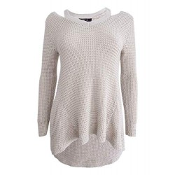 Women's Petite High-Low Cutout Sweater