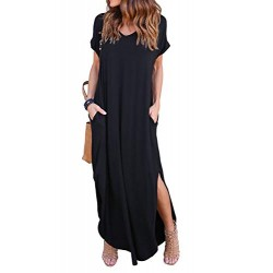 Womens Casual Loose Pocket Long Dress Short Sleeve