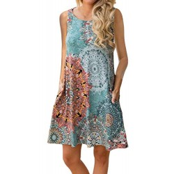 Women's Summer Casual Sleeveless Floral Printed Swing Dress