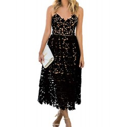 Womens Sexy V Neck Sleeveless Lace Dress