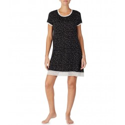 Dot Print Stretch Knit Sleepshirt