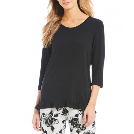 Solid Knit Ruffled-Hem Sleep Tee