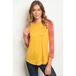 MUSTARD EARTH STRIPES TOP