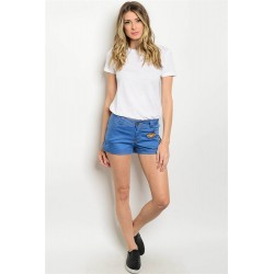 BLUE DENIM PATCH SHORTS