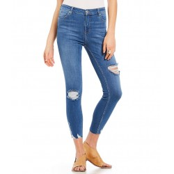 Destructed Frayed Hem Ankle Skinny Jeans