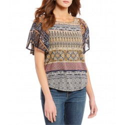 Round Neck Mix Print Short Flutter Sleeve Top