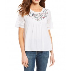Floral Embroidered Yoke Short Sleeve Top