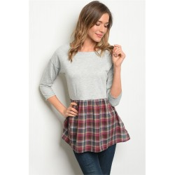 GRAY WINE CHECKERED TOP