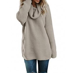 Womens Casual Turtleneck Long Sleeve Pullover
