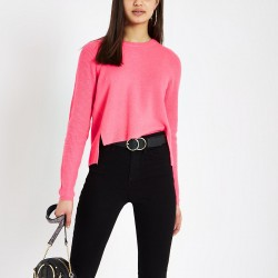 pink knitted crop jumper