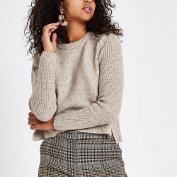 Light brown cropped crew neck jumper