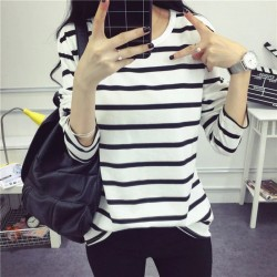 Black White Stripes Long Sleeve Casual T-Shirt