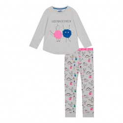 Girls grey sleepover print pyjama set