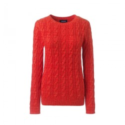 Red Womens Cotton Cable Crew Neck Jumper
