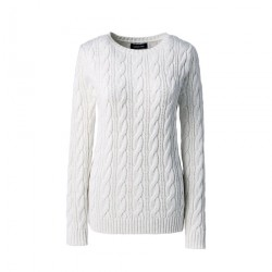 White Womens Cotton Cable Crew Neck Jumper
