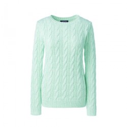 Green Womens Cotton Cable Crew Neck Jumper