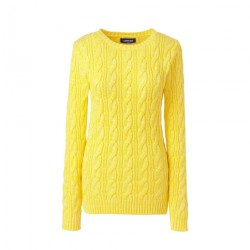 Yellow Womens Cotton Cable Crew Neck Jumper
