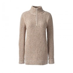 Beige plus chunky knit high neck tunic jumper