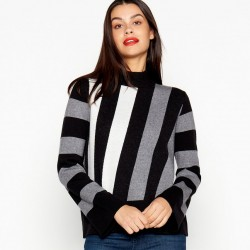 Grey Diagonal Stripe Flared Sleeve Jumper