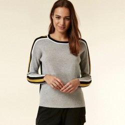 Grey contrast stripe sleeve jumper