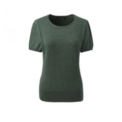 Green Plain Short Sleeve Jewelneck Jumper
