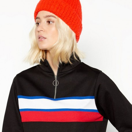 Black stripe front zip neck polo top