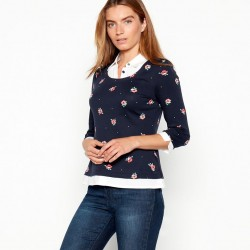 Navy floral print cotton top