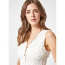 Sleeveless Lace Zip Top