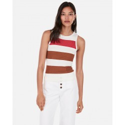 Sleeveless Striped Ribbed Pullover Sweater