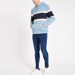 Men Drawstring Kangroo Pocket Color Stripe Blue Hoody Hoodies
