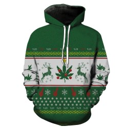 Chirstmas Cotton and Polyester Mixture Mens Hooded Sweatshirt, Pullover Sport Hoody