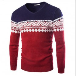 Hot Sale Knit Mens Pullover Jacquard Sweaters