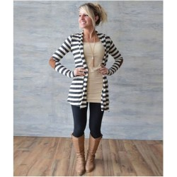 Women Inerratic Striped Loose Sweater Coat Outwear Blouse Cardigan