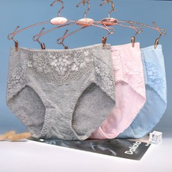 Women′s Middle-Waisted Crotch of Cotton Pure Cotton Indentation High-Quality Underwear