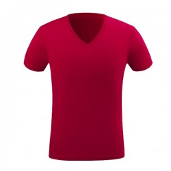 Customize Logo High Quality 100%Cotton V Neck Men T-Shirt