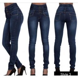 High Waisted-Rise Ladies Colored Denim Stretch