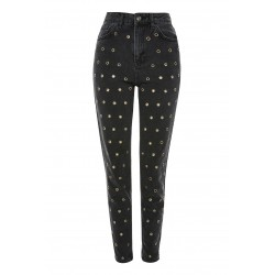 Eyelet Black Customized Women Denim Jeans