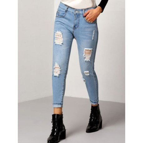 2019 New Designs Fashion Hot Sale Ripped Cuffed Women Denim Jeans