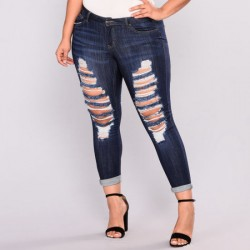 Plus Size Damaged Ripped Womens High Waisted Jeans