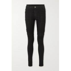 Paneled mid-rise skinny jeans