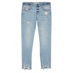 Distressed Hem Girlfriend Jeans