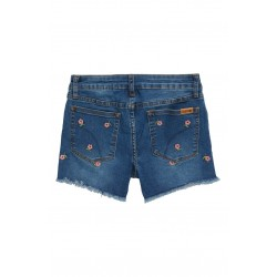 Embroidered Flower Denim Shorts