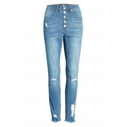 Ripped High Waist Button Fly Skinny Jeans