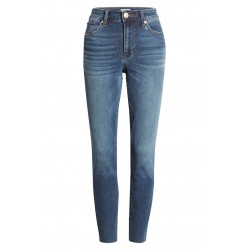 High Waist Raw Hem Ankle Skinny Jeans