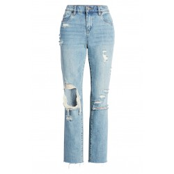 Ripped Straight Leg Ankle Jeans
