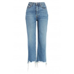 High Waist Crop Straight Leg Jeans