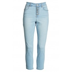 High Waist Button Fly Crop Skinny Jeans