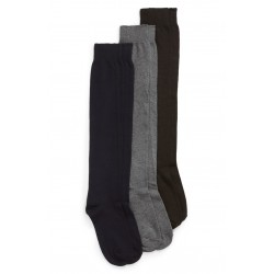 3-Pack Flat Knit Knee High Socks